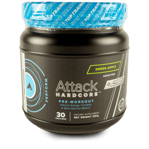 Attack Hardcore Pre-Workout with Beta-Alanine Green Apple Flavor