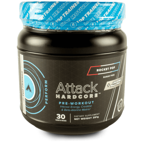 Attack Hardcore Pre-Workout with Beta-Alanine Rocket Pop Flavor