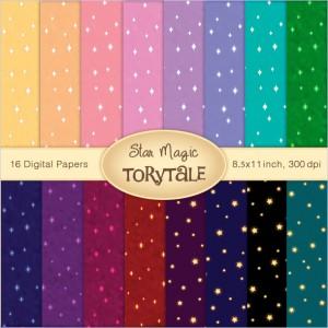 "Digital Paper set ""Star Magic"""