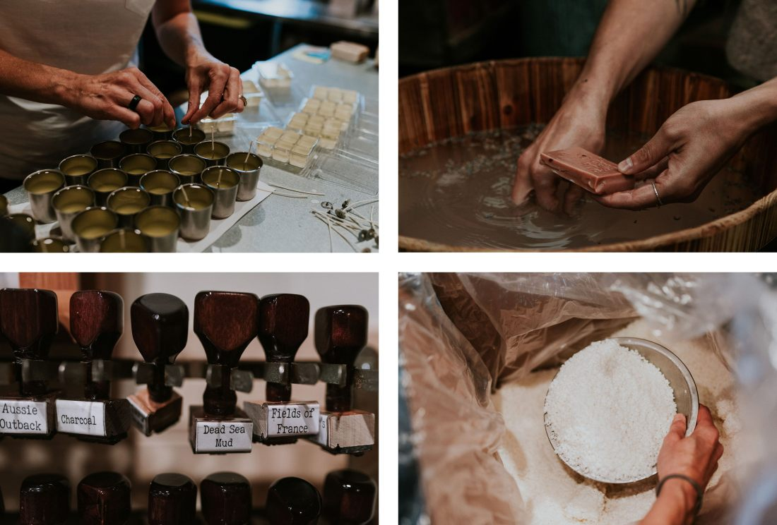 Collage showing Rustic soap's production process
