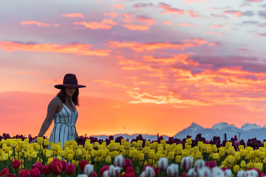 Girl walks through flowers at the Chilliwack Tulip Festival