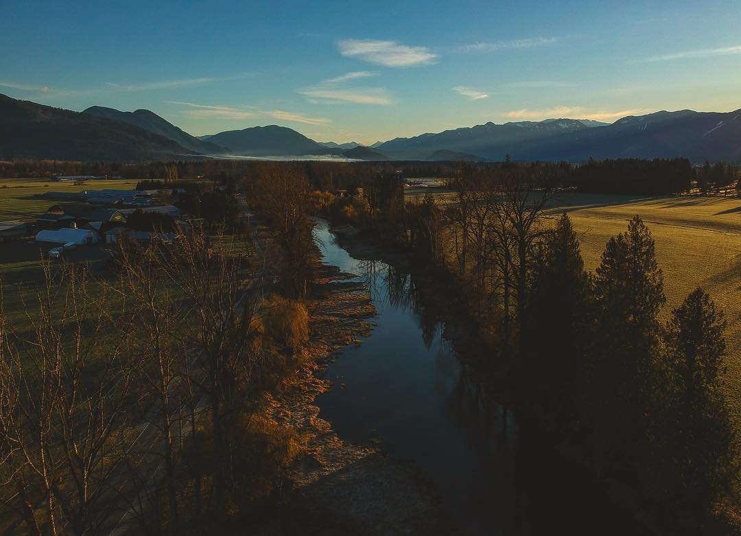 Serene birds-eye view of the Vedder river