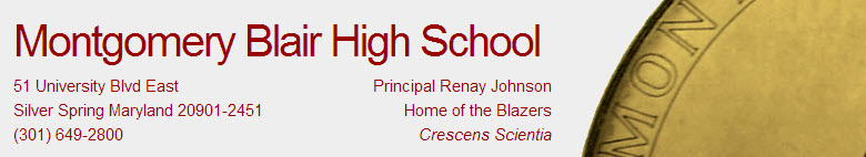Montgomery Blair High School banner