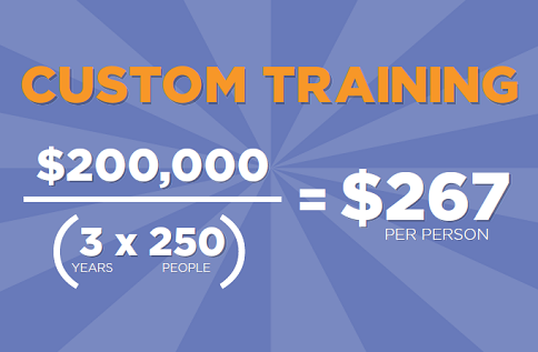 Custom Training: ($200,000)/(3 years x 250 people) = $267 per person