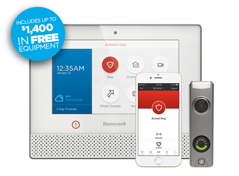 Tranont Smart Home and Security through NorthStar. Image of doorbell camera, honeywell control panel, and mobile app to control your smart home. Tranont Home Security packages include up to $1400 in free  equipment.