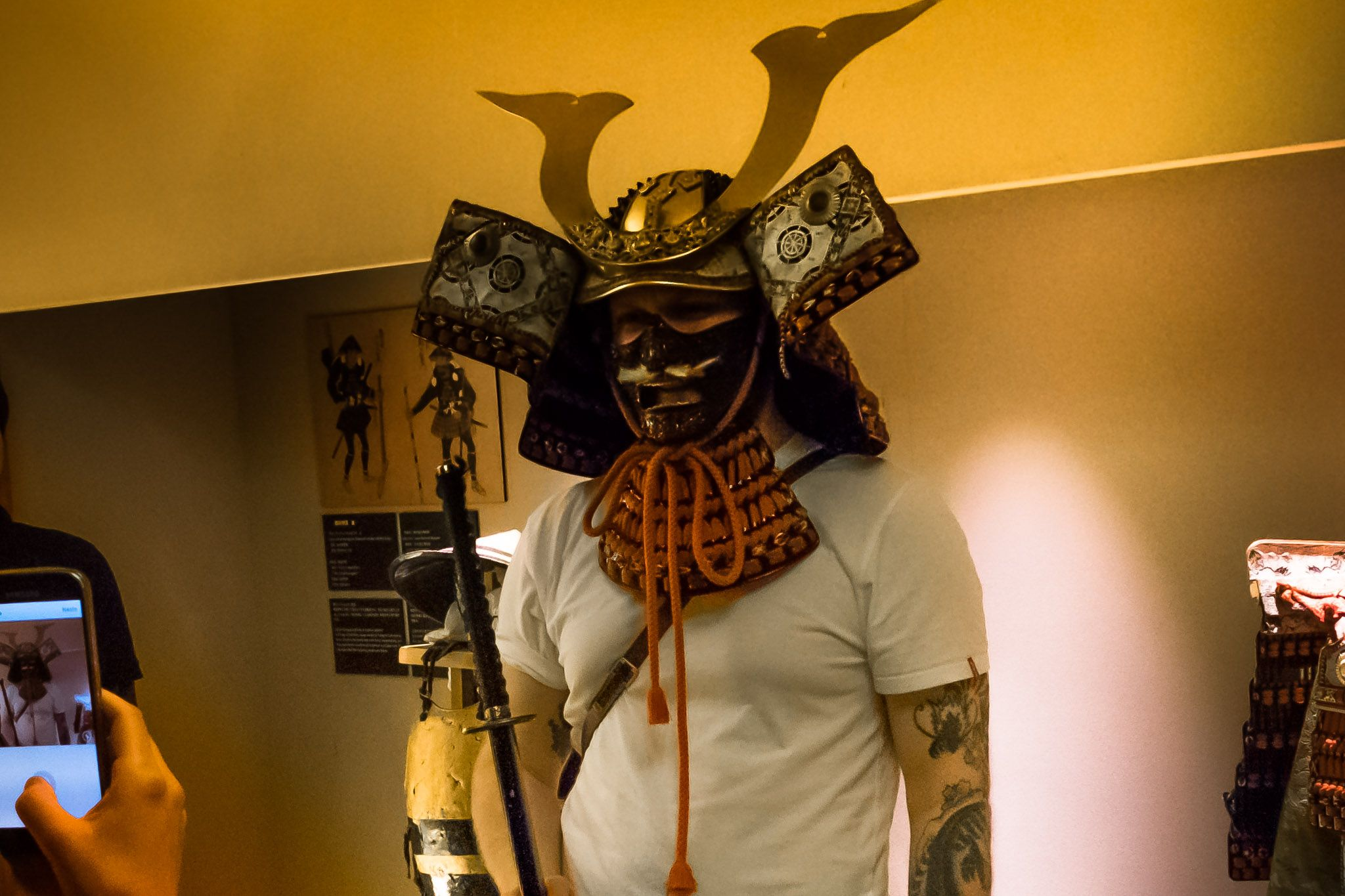 a participant trying on samurai gear