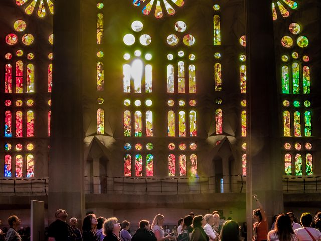 what beautiful light and stained glass, Sagrada Familia