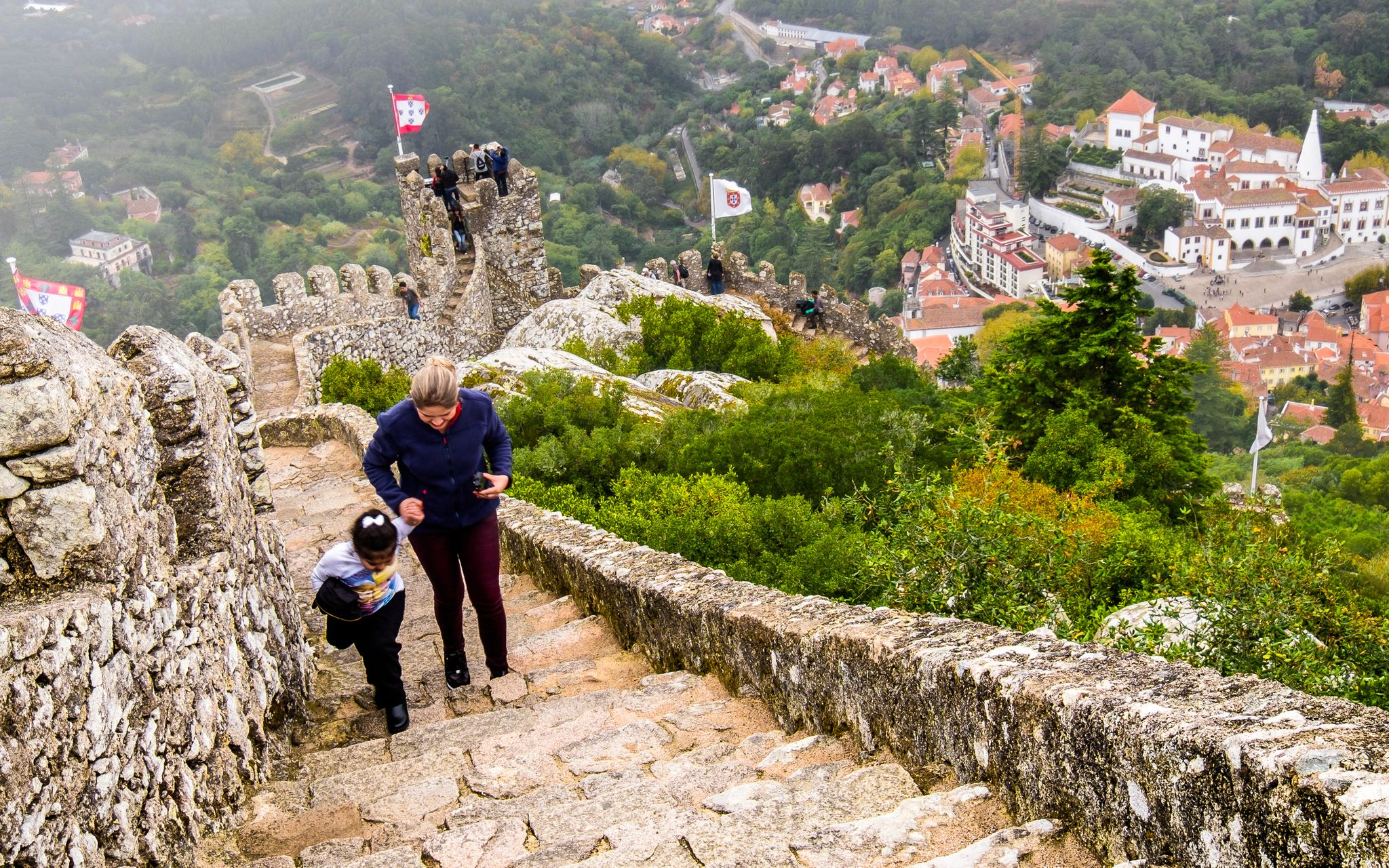 Moorish Castle with Sintra National Palace in the backdrop