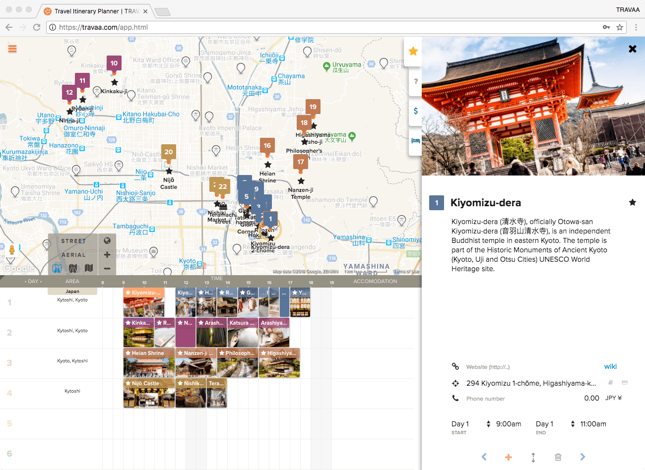 travel itinerary planner filled