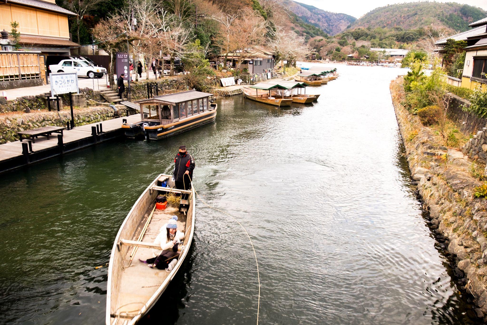 boat on river in Arashiyama