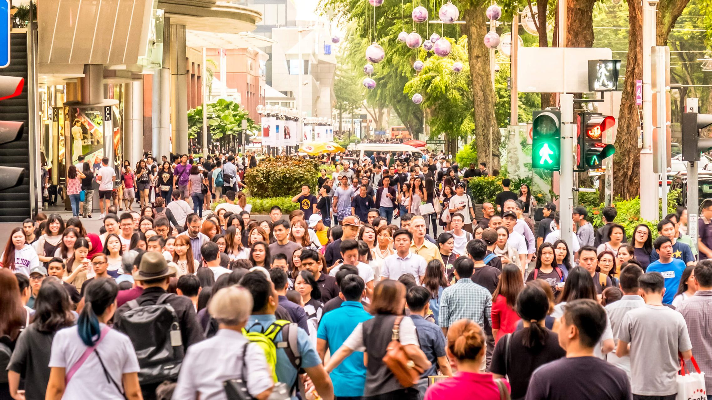 orchard road Singapore, a street packed with people