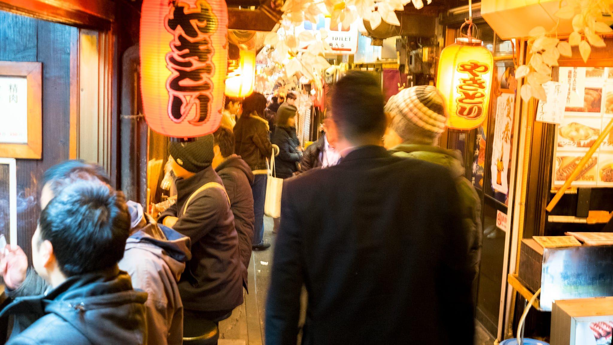 a narrow street of Omoide Yokocho
