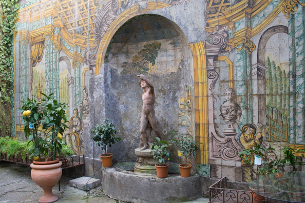 Majolica courtyard in the palazzo housing the florist Ruoppo in Sorrento, Italy