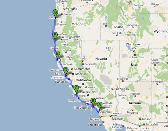 RV pacific coast trip map
