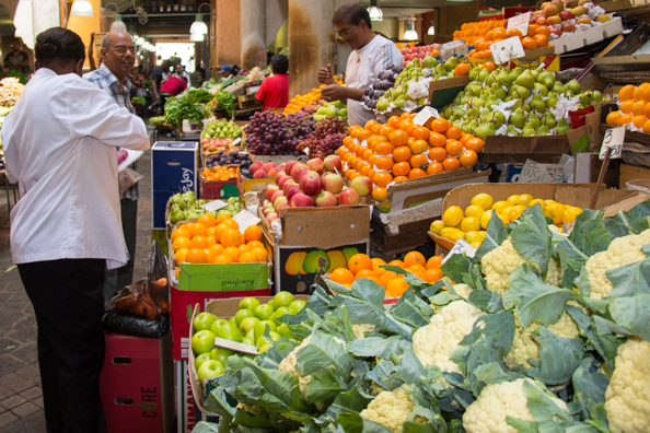 Fruit and vegetable market in Port Louis on Mauritius