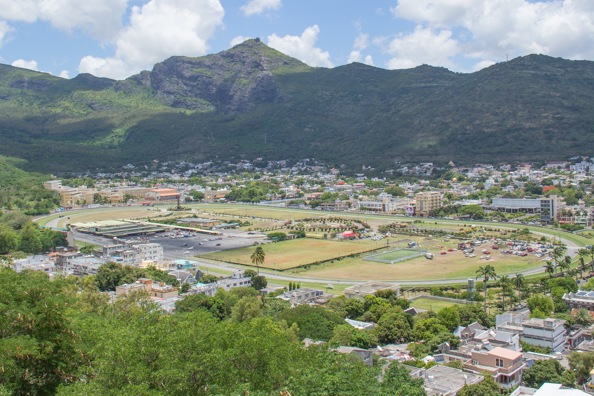View of the race course in Port Louis, Mauritius, from its citadel Fort Adelaide