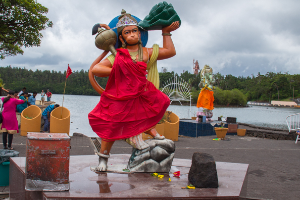 Hindu gods on the shore of the Grand Bassin also known as or the Sacred Lake on Mauritius
