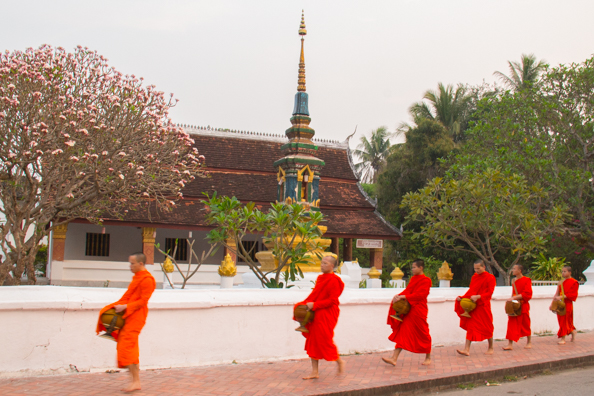 Monks marching past Wat Sene Souk Haram in Luang Prabang