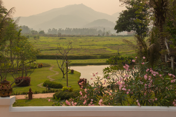 The view from the veranda of the restaurant of the Hotel Santi Resort in Luang Prabang in Laos - 1371