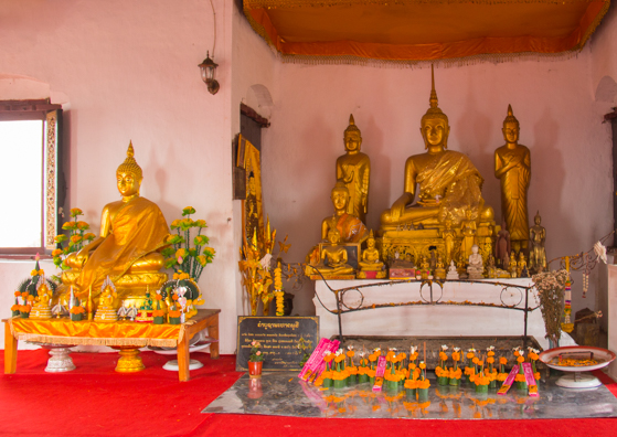 Interior of the temple at the top of Mount Phousi in Luang Prabang