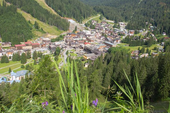 The view from of the town from Piazza Imperatrice above Madonna di Campiglio