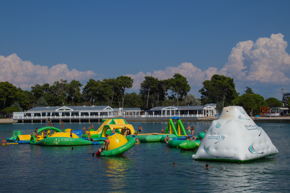 Floating inflatables on a natural lake in Umag on the Istrian Coast of Croatia