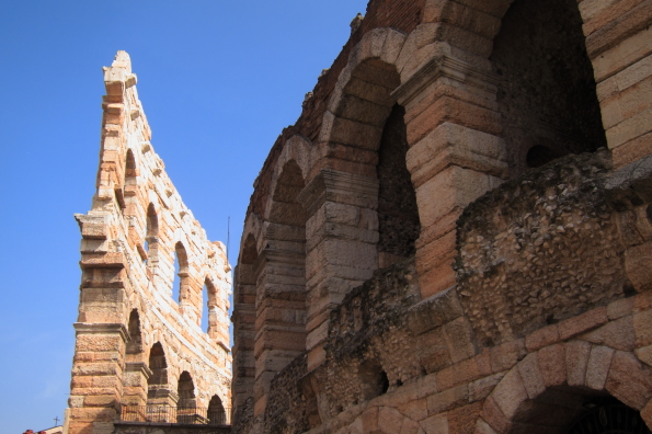 The outer and inner wall of the Arena in Verona