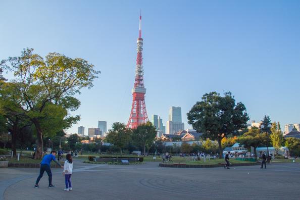 Tokyo Tower and Shiba Park in Minato, Tokyo, Japan