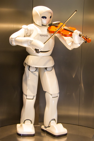 Robot playing the violin at the Toyota Museum in Nagoya, Japan