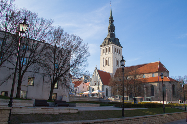 Site of destroyed Harju St in front of the Niguliste Church in Tallinn, Estonia