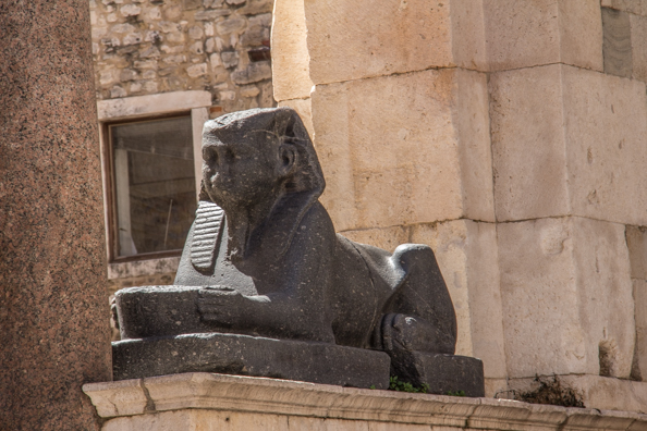 Sphinx on the Peristyle in Split, Dalmatia in Croatia