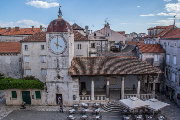 Church of St Sebastian with the city clock tower and the city loggia in Trogir, Dalmatia in Croatia