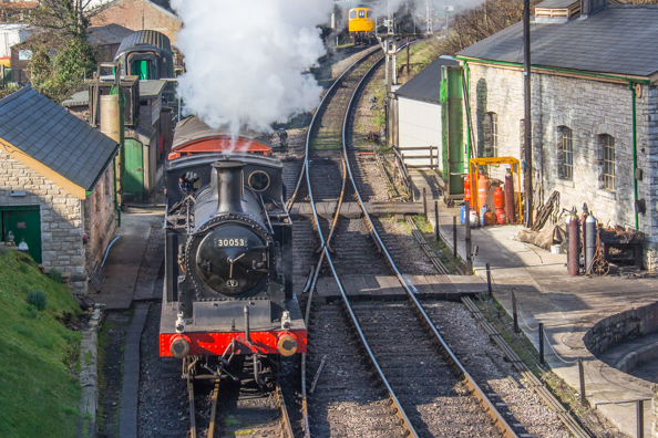 Steam Railway in Swanage on the Jurassic Coast in Dorset, UK