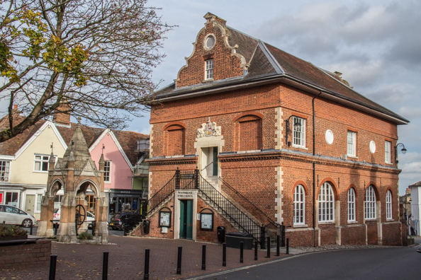 The Shire Hall and Corn Market on Market Hill in Woodbridge, Suffolk