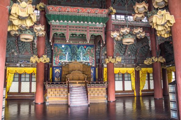 nterior of the Injeongjeon Hall at Changdeokgung Palace in Seoul, South Korea