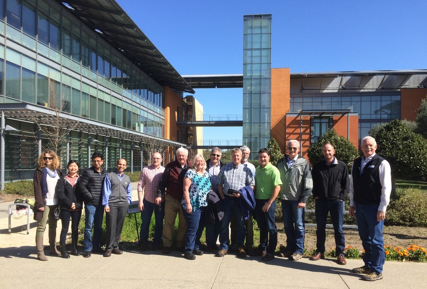 Picture 1: The tour group and Dr. Nitin Nitin (fourth from left) in front of the Robert Mondavi Institute for Wine and Food Sciences in Davis, CA on March 2, 2017.