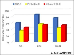 Figure 3: Resistance frequencies to TBZ (Mertect, TBZ), Penbotec (pyrimethanil), and Scholar-FDL (fludioxonil) Penicillium in spores collected for the air, walls and the bins of a single storage room in July 2017. Note that this a single example of one room and does not reflect the resistance levels in other rooms.