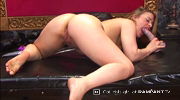 Tammy Oldham completely naked dildoing her sexy pussy from a rear view before taking her break