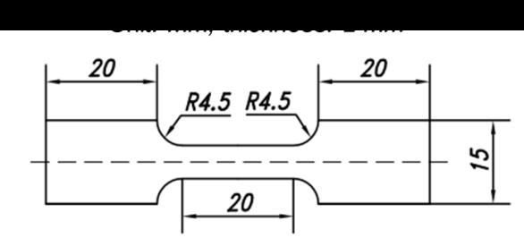 Figure 2  Dimensions of the tensile specimen.