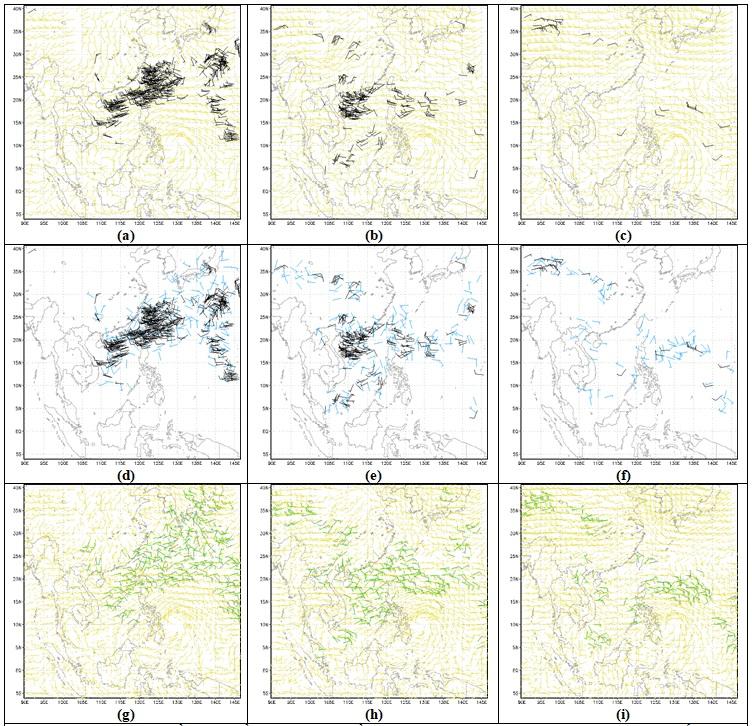 Figure 4  Trường gió ban đầu chưa đồng hóa (trườn nền – màu vàng (a,b,c,g,h,i)), gió vệ tinh quan trắc (màu đen – a,b,c,d,e,f) và trường gió phân tích do LETKF đồng hóa số liệu gió vệ tinh (g,h,i) (màu xanh lá cây) tại 12 giờ UTC ngày 07/11/2013 ở các mực 850 hPa (a,d,g), 700 hPa (b,e,h) và 500 hPa (c,f,i).