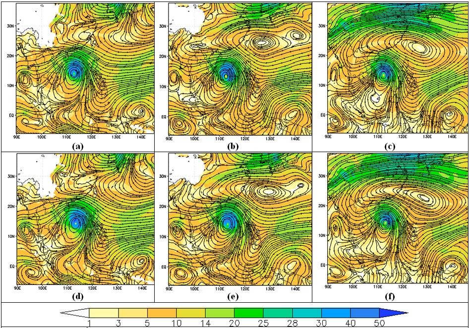 Figure 6  Bản đồ đường dòng mực 850hPa, 700hPa, 500hPa trong thử nghiệm MPH (a,b,c), CIMSS (e,f,g) mô phỏng lúc 12 giờ UTC ngày 09. Và độ lớn tốc độ gió ở mực tương ứng.