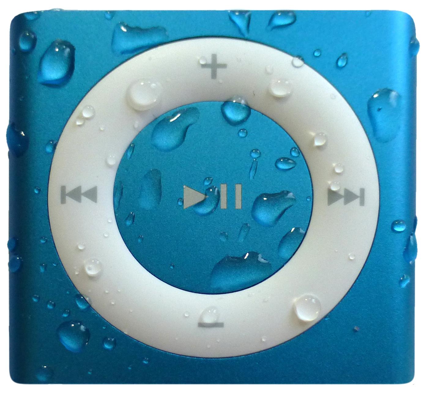 blue waterproof iPod shuffle