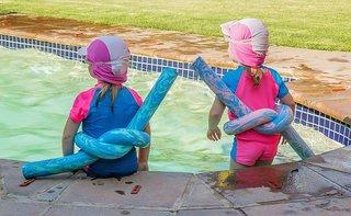kids children poolside swimming