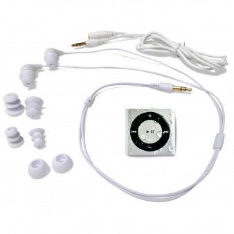 Waterproof iPod and Swimbuds Headphones: Silver