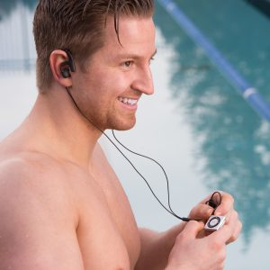 Swimbuds Fit at pool with iPod