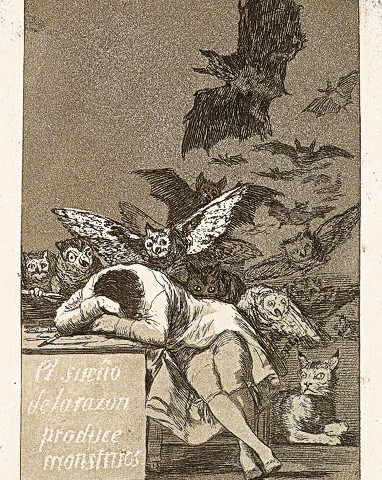 Francisco José de Goya (1746-1828), El sueño de la razon produce monstruos  (The Sleep of Reason Produces Monsters), 1799