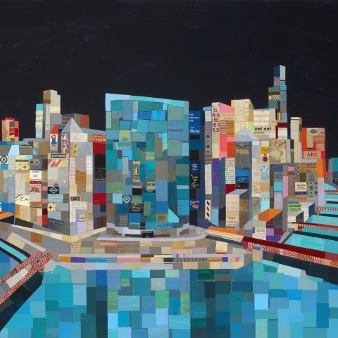 Chicago Panorama_high res_vintage ephemera collage on canvas 2011_46 x 68 inches