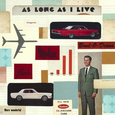 As Long as I Live_vintage ephemera collage on panel_10 x 10