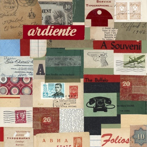 Ardiente_vintage ephemera collage on panel_10 x 10