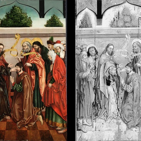 Workshop of Fernando Gallego, The Healing of the Blind Bartimaeus, 1480-1488. Gift of the Samuel H. Kress Foundation.